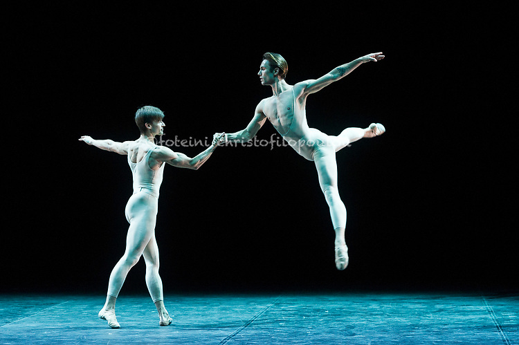 London, UK. 22.11.2017. 'Men in Motion' Ivan Putrov's celebration of the male dancer returns to the London Coliseum, 22-23 Nov 2017. Photo shows: Marian Walter & Timofej Andrijashenko in Roland Petit's Pas de deux from 'Proust ou les Intermittences du coeur'. Photo - © Foteini Christofilopoulou.