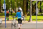 Bicyclists on the North Park Blocks, Portland, Oregon