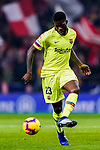 Samuel Umtiti of FC Barcelona in action during the La Liga 2018-19 match between Atletico Madrid and FC Barcelona at Wanda Metropolitano on November 24 2018 in Madrid, Spain. Photo by Diego Souto / Power Sport Images