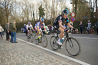 race leaders Geraint Thomas (GBR/SKY), Peter Sagan (SVK/Tinkoff-Saxo) & Zdenek Stybar (CZE/Etixx-QuickStep) reach the top of the last climb of the day: Tiegemberg. <br /> <br /> 58th E3 Harelbeke 2015