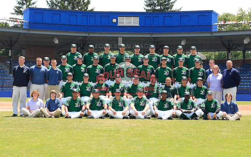 Team photo of the Jamestown Jammers, Class-A affiliate of the Florida Marlins, during New York-Penn League baseball action.  Photo by Mike Janes/Four Seam Images