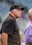 25 August 2016: Baltimore Orioles Manager Buck Showalter watches batting practice prior to a game against the Washington Nationals at Nationals Park in Washington, DC. The Nationals blanked the Orioles 4-0 to salvage one game of their 4-game home and away series. Mandatory Credit: Ed Wolfstein Photo *** RAW (NEF) Image File Available ***