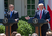 United States President Donald J. Trump, right, and President Andrzej Duda of the Republic of Poland, left, conduct a joint press conference in the Rose Garden of the White House in Washington, DC on Wednesday, June 12, 2019. <br /> Credit: Ron Sachs / CNP