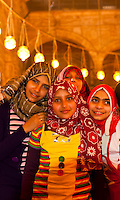 Egyptian girls, Mosque of Muhammad Ali, The Citadel, Old Cairo (Islamic Cairo), Cairo, Egypt