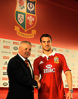 London, England.  Sam Warburton (R) The British and Irish Lions Captain shakes hands with Warren Gatland the British and Irish Lions Head Coach during the 2013 British and Irish Lions tour squad and captain announcement at London Syon Park Hotel on April 30, 2013 in London, England.