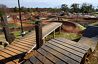 NWA Democrat-Gazette/BEN GOFF @NWABENGOFF<br /> A view from the roll-in for the intermediate and expert slopestyle lines on Saturday Nov. 7, 2015 during opening day of The Railyard bike park in Rogers.