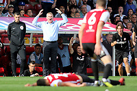 Brentford Manager, Dean Smith and Thomas Frank react after a challenge from Sam Morsy of Wigan on Brentford's Yoann Barbet  during Brentford vs Wigan Athletic, Sky Bet EFL Championship Football at Griffin Park on 15th September 2018