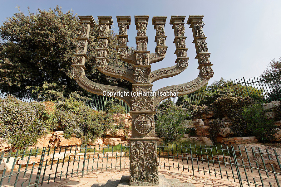 Israel, Jerusalem. The Menorah in front of the Knesset building