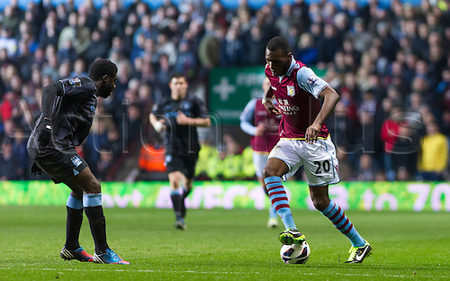 04.03.2013 Birmingham, England. Aston Villa's Christian Benteke in action during the Premier League game between Aston Villa and Manchester City from Villa Park.
