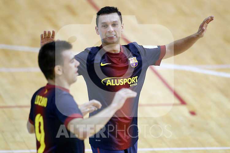 FC Barcelona Alusport's Saad Assis (r) and Sergio Lozano celebrate goal during Spanish National Futsal League match.November 24,2012. (ALTERPHOTOS/Acero)