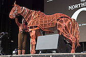 London, UK. 21 June 2015. The War Horse parades on stage at West End Live 2015 in Trafalgar Square.