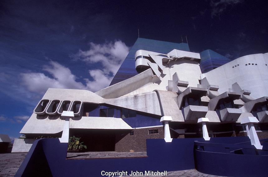 The Teatro Nacional or Centro Cultural Miguel Angel Asturias  in Guatemala City, Guatemala. This National Theatre was designed by Efraim Recinos.