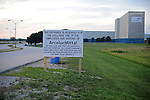 The main gate of the Arcelor Mittal plant, which closed after several rounds of layoffs in between March 1-20, 2009, in Hennepin, Illinois on July 20, 2009.  The plant, owned by the largest steel company in the world, Mittal, had previously employed 280 hourly workers and an unknown salaried employees; an informational picket set up at both the main and west gates to the plant has claimed one major success, the refusal of a company to strip the plant and send the machinery offshore.