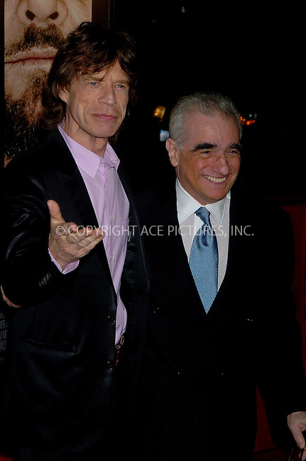 WWW.ACEPIXS.COM . . . . .  ....NEW YORK, SEPTEMBER 26, 2006....Mick Jagger and Martin Scorsese at the NY Premiere of 'The Departed'.....Please byline: AJ Sokalner - ACEPIXS.COM.... *** ***..Ace Pictures, Inc:  ..(212) 243-8787 or (646) 769 0430..e-mail: picturedesk@acepixs.com..web: http://www.acepixs.com