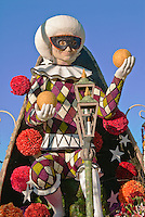 """City of Dreams,"" President's Trophy, City of Cerritos, ""Most Effective Floral Use & Presentation."" built by Fiesta Parade Floats, Large 22 ft. animated jester,"