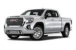 Stock pictures of low aggressive front three quarter view of a 2019 GMC Sierra 1500 Denali Base 4 Door Pick Up