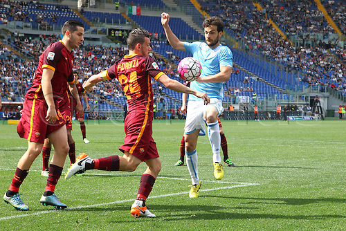 03.04.2016. Stadium Olimpico, Rome, Italy.  Serie A football league. Derby Match SS Lazio versus AS Roma. Parolo Marco has his shot charged down
