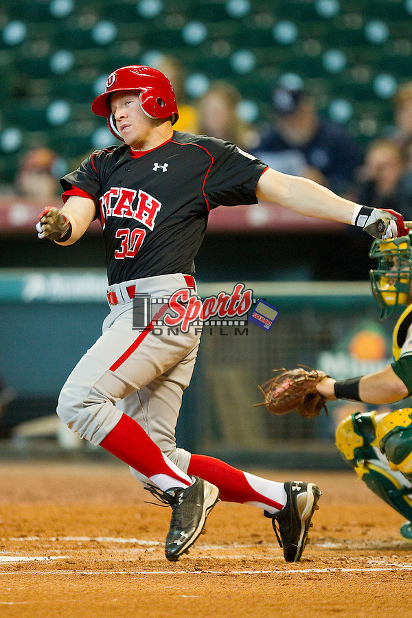 Shaun Cooper #30 of the Utah Utes follows through on his swing against the Baylor Bears at Minute Maid Park on March 5, 2011 in Houston, Texas.  Photo by Brian Westerholt / Four Seam Images