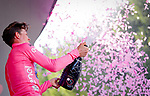 Race leader Bob Jungels (LUX) Quick-Step Floors retains the Maglia Rosa at the end of Stage 8 of the 100th edition of the Giro d'Italia 2017, running 189km from Molfetta to Peschici, Italy. 1th May 2017.<br /> Picture: LaPresse/Simone Spada | Cyclefile<br /> <br /> <br /> All photos usage must carry mandatory copyright credit (&copy; Cyclefile | LaPresse/Simone Spada)