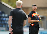 Blackpool's John O'Sullivan chats with Mark Cullen<br /> <br /> Photographer Kevin Barnes/CameraSport<br /> <br /> The EFL Sky Bet League One - Wycombe Wanderers v Blackpool - Saturday 4th August 2018 - Adams Park - Wycombe<br /> <br /> World Copyright &copy; 2018 CameraSport. All rights reserved. 43 Linden Ave. Countesthorpe. Leicester. England. LE8 5PG - Tel: +44 (0) 116 277 4147 - admin@camerasport.com - www.camerasport.com