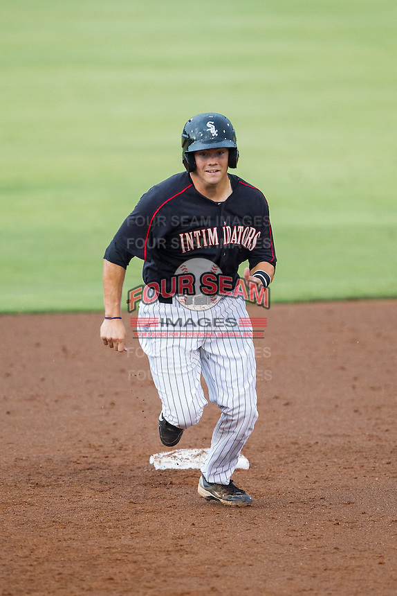 Brett Austin (10) of the Kannapolis Intimidators takes his lead off of second base against the Delmarva Shorebirds at CMC-NorthEast Stadium on July 3, 2014 in Kannapolis, North Carolina.  The Shorebirds defeated the Intimidators 6-5. (Brian Westerholt/Four Seam Images)