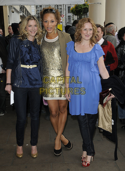 LISA FAULKNER, ANGELA GRIFFIN & GUEST.Attending the 'Sweet Charity' Press Night at the Theatre Royal, Haymarket, London, England UK, May 4th 2010. .full length black blue gold dress jacket beige brown mac purple.CAP/CAN.©Can Nguyen/Capital Pictures.