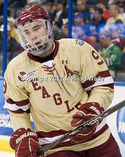 Barry Almeida (BC - 9) - The Boston College Eagles defeated the University of Minnesota Golden Gophers 6-1 in their 2012 Frozen Four semi-final on Thursday, April 5, 2012, at the Tampa Bay Times Forum in Tampa, Florida.