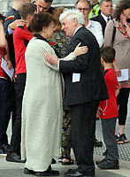 "Pictured L-R: Lorraine Barrett and Prys Morgan after the service. Wednesday 31 May 2017<br /> Re: The funeral for former first minister Rhodri Morgan has taken place in the Senedd in Cardiff Bay.<br /> The ceremony, which was open to the public, was conducted by humanist celebrant Lorraine Barrett.<br /> She said the event was ""a celebration of his life through words, poetry and music"".<br /> Mr Morgan, who died earlier in May aged 77, served as the Welsh Assembly's first minister from 2000 to 2009.<br /> He was credited with bringing stability to the fledgling assembly during his years in charge.<br /> It is understood Mr Morgan had been out cycling near his home when he died."