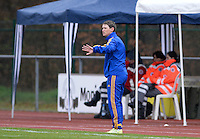 20150404 - FORST , GERMANY  :  Ukrainian coach Nataliia Zinchenko pictured during the soccer match between Women Under 19 teams of Belgium and Ukraine , on the first matchday in group 5 of the UEFA Elite Round Women Under 19 at WaldseeStadion , Forst , Germany . Saturday 4th April 2015 . PHOTO DAVID CATRY