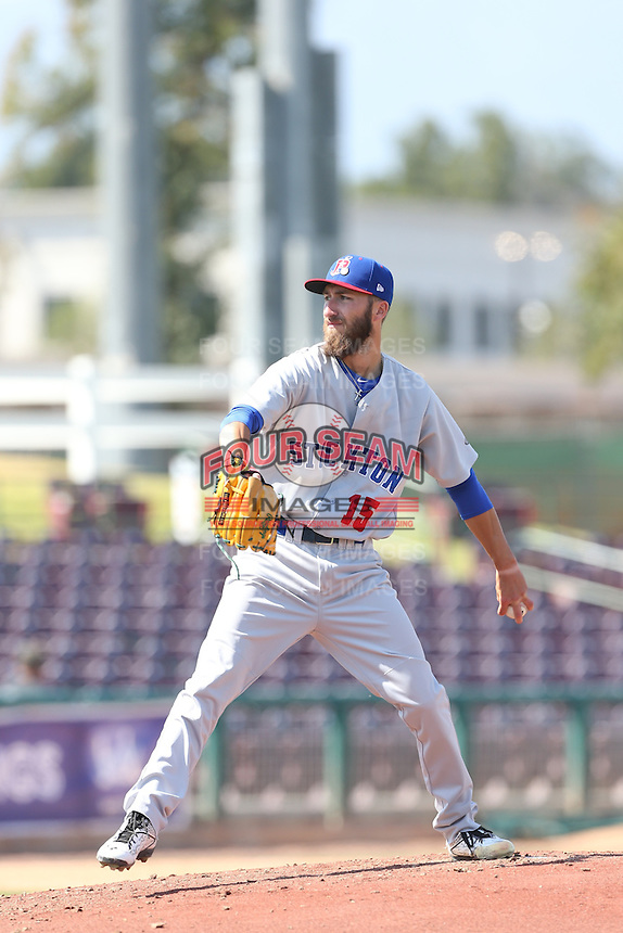 Dillon Overton (15) of the Stockton Ports pitches during a game against the Inland Empire 66ers at The Hanger on April 11, 2015 in Lancaster, California. San Jose defeated Lancaster, 8-3. (Larry Goren/Four Seam Images)