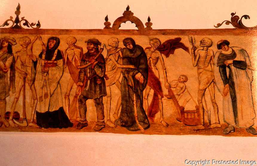 """Bubonic Plague:  Church Fresco, late 15th century (otherwise unidentified).  """"Dance of Death""""."""