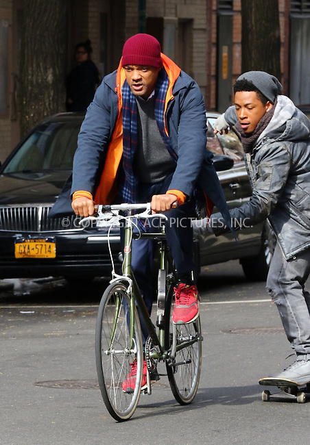 WWW.ACEPIXS.COM<br /> <br /> March 31 2016, New York City<br /> <br /> Actors Will Smith (L) and Jacob Latimore were on the set of the new movie 'Collateral Beauty' on March 31 2016 in New York City<br /> <br /> By Line: Zelig Shaul/ACE Pictures<br /> <br /> <br /> ACE Pictures, Inc.<br /> tel: 646 769 0430<br /> Email: info@acepixs.com<br /> www.acepixs.com