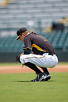 Bradenton Marauders starting pitcher James Marvel (12) takes a moment behind the mound during the first game of a doubleheader against the Jupiter Hammerheads on May 27, 2018 at LECOM Park in Bradenton, Florida.  Bradenton defeated Jupiter 13-5.  (Mike Janes/Four Seam Images)