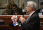 Nevada Assemblyman Pat Hickey, R-Reno, listens as Assemblyman Erven Nelson, R-Las Vegas, speaks during Assembly floor debate at the Legislative Building in Carson City, Nev., on Sunday, May 31, 2015.  <br /> Photo by Cathleen Allison