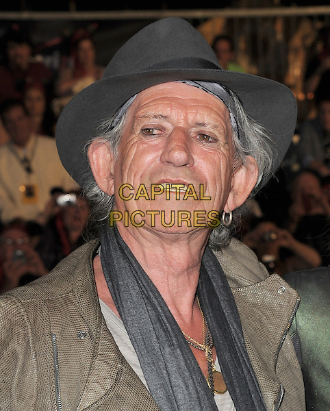 "KEITH RICHARDS .Premiere of ""Pirates of the Caribbean : On Stranger Tides"" held at Disneyland in Anaheim, California, USA..May 7th 2011.4 four headshot portrait  grey gray hat scarf earring hoop  .CAP/RKE/DVS.©DVS/RockinExposures/Capital Pictures."