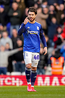 1st February 2020; St Andrews, Birmingham, Midlands, England; English Championship Football, Birmingham City versus Nottingham Forest; Scott Hogan of Birmingham City tells his players to concentrate after scoring the equaling goal for 1-1 in the 43rd minute