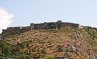 The Rozafa hilltop castle fortress fort between Shkodra and Lezhe. Shkodra. Albania, Balkan, Europe.