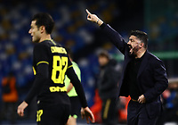 6th January 2020; Stadio San Paolo, Naples, Campania, Italy; Serie A Football, Napoli versus Inter Milan; Gennaro Gattuso coach of Napoli gets animated on the sideline - Editorial Use