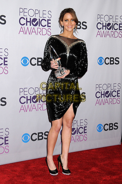 Jennifer Lawrence.People's Choice Awards 2013 - Press Room held at Nokia Theatre L.A. Live, Los Angeles, California, USA..January 9th, 2013.full length black gold sheer dress sparkly sequins sequined award trophy winner  .CAP/ADM/BP.©Byron Purvis/AdMedia/Capital Pictures.