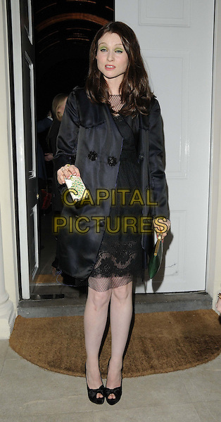 Sophie Ellis Bextor.attended the Diet Coke 30th birthday party, Sketch, Conduit St., London, England..January 30th, 2013.full length black dress coat netting mouth open funny chiffon green clutch bag peep toe shoes .CAP/CAN.©Can Nguyen/Capital Pictures.