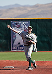 February 24, 2012:    Utah Valley Wolverines shortstop Kai Hatch throws to first against the Nevada Wolf Pack during  their NCAA baseball game played at Peccole Park on Friday afternoon in Reno, Nevada.