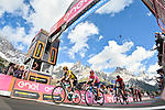 The main contenders led by Primoz Roglic (SLO) Team Jumbo-Visma, race leader Richard Carapaz (ECU) Movistar Team Maglia Rosa and Vincenzo Nibali (ITA) Bahrain-Merida cross the finish line of Stage 19 of the 2019 Giro d'Italia, running 151km from Treviso to San Martino di Castrozza, Italy. 31st May 2019<br /> Picture: Massimo Paolone/LaPresse | Cyclefile<br /> <br /> All photos usage must carry mandatory copyright credit (© Cyclefile | Massimo Paolone/LaPresse)