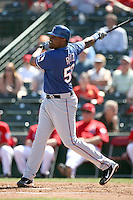 Jose Ruiz #50 of the Texas Rangers plays in a spring training game against the Los Angeles Angels at Tempe Diablo Stadium on March 8, 2011  in Tempe, Arizona. .Photo by:  Bill Mitchell/Four Seam Images.