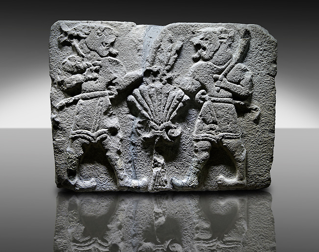 Picture & image of a Neo-Hittite orthostat with a releif sculpture of Lion Men  from Aslantepe ,  Malatya, Turkey. An Ankara Museum of Anatolian Civilizations exhibit.