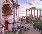 A stunning view of the Roman Forum at sunset.
