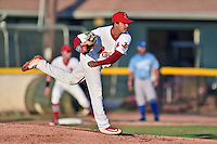 Johnson City Cardinals starting pitcher David Oca (15) delivers a pitch during Game Two of the Appalachian League Championship series against the Burlington Royals at TVA Credit Union Ballpark on September 7, 2016 in Johnson City, Tennessee. The Cardinals defeated the Royals 11-6 to win the series 2-0.. (Tony Farlow/Four Seam Images)