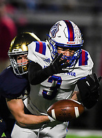 NWA Democrat-Gazette/CHARLIE KAIJO Shiloh Christian High School Keaton Carter (25) breaks up a pass intended for Arkadelphia High School defensive back Victor Tademy (3) during a Class 4A semi-final playoff football game, Saturday, December 1, 2018 at Champions Stadium at Shiloh Christian High School in Springdale.
