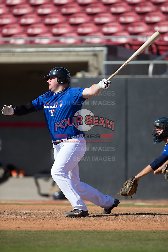 Liam Scafariello (14) of Southington High School in Southington, Connecticut playing for the Texas Rangers scout team at the South Atlantic Border Battle at Doak Field on November 2, 2014.  (Brian Westerholt/Four Seam Images)