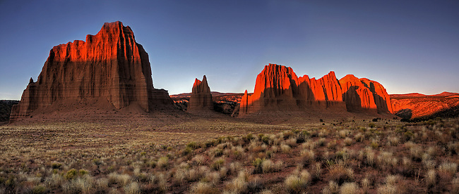 The morning sun brightens up the landscape at Cathedral Valley at Capital Reef National Park, Utah