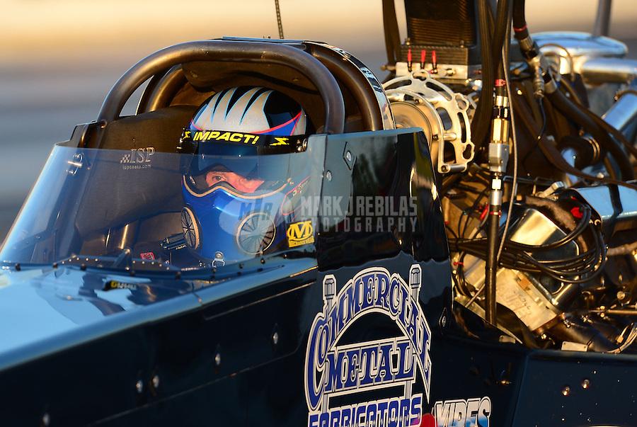 May 4, 2012; Commerce, GA, USA: NHRA top fuel dragster driver Pat Dakin during qualifying for the Southern Nationals at Atlanta Dragway. Mandatory Credit: Mark J. Rebilas-